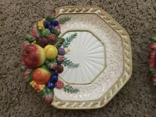 Stunning Fitz & Floyd Raised Majolica Style Fruit Plate Dish 8 1/4 Inch