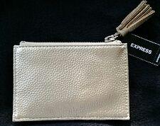 Women NEW Credit Card ID Holder Small Zipper Tassel Case Gold Metallic Express