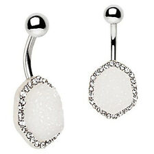 316L Stainless Steel Jeweled White Druzy WildKlass Navel Ring (White)
