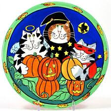 "Candace Reiter CATZILLA 8"" Plate Halloween Pumpkin Cats Costume Jack-O-Lantern"