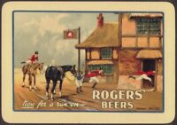 Playing Cards 1 Single Card Old Wide ROGERS BEERS Brewery Advertising Art HORSES