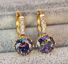 18K Yellow Gold Filled - 9MM Round MYSTICAL Rainbow Topaz Gems Hoop Earrings