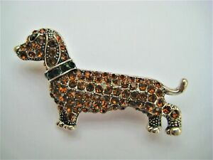 Pin Brooch Dachshund/Sausage Dog with Crystals in Gift Bag