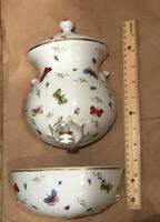 Lenwile-Ardalt Hand-Painted Porcelain Lavabo Wall Hanging 3 Piece Planter
