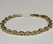 "14k solid Two Tone Gold Handmade ROLO link men's chain/Bracelet 8"" 24 grams 6 MM"