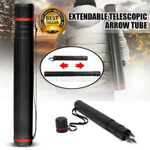 Extendable Telescopic Archery Arrow Back Shoulder Quiver Holder Tube With Strap