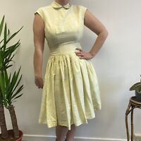 Vtg 50s 60s Pretty Pale Yellow Fit and Flare Dress with Collar Sz 10 12
