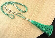 Bohemian Single Strand Beaded White Howlite Gemstone Green Tassel Necklace #B236