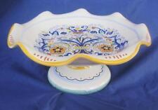 """Deruta Ceramic Compote Pedestal Scalloped Edge Italy Blue Yellow 8""""x3.5"""" PRETTY"""
