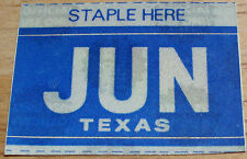 "TEXAS MONTH PLATE STICKER""JUNE"""