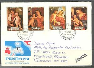 PENRHYN 1998, ART: TITIAN CHRISTMAS PAINTINGS Sc 369-372 on MAILED CACHETED FDC
