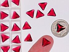 10pc Vintage Crystal SWAROVSKI Triangle lot Rhinestone unfoiled no hole 10mm Red