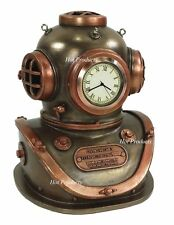 Diving Helmet Clock Nautical Decor Dive Statue Antique Bronze and Copper Finish