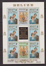 1981 Royal Wedding Diana MNH Stamp Sheet Belize William Birth Opt 1982 2122