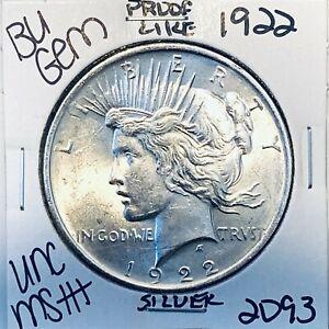 1922 P BU GEM PEACE SILVER DOLLAR UNC MS+ GENUINE U.S. MINT RARE COIN 2093