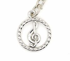 Keyring With Silver Treble Clef Ring Musician Gift Idea