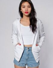 NWT American Apparel Unisex Dov's Zip Hoodie in Faded White Size X-SMALL NEW
