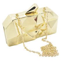 Women Gold Metal Day Clutches Handbag Evening Purse Shoulder Minaudiere Bag