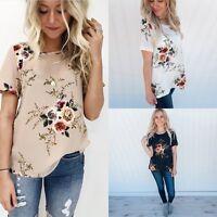 Fashion Women Summer Short Sleeve Shirt Casual Blouse Loose Chiffon Tops T Shirt
