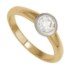 Damen Ring 585 Gold Gelbgold Wei�Ÿgold 1 Diamant Brillant 0,15ct. Goldring