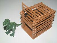 Playmobil Accessoire Décor Cage Rondin de Bois + Bébé Tyrannosaure vert 7 cm NEW