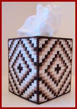 BROWN TAN BEIGE BABY NURSERY HANDMADE PLASTIC CANVAS TISSUE BOX COVER TOPPER