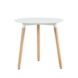 Round Dining Table White Retro Design Office Kitchen Dining Room Table 80*70 cm