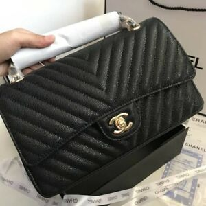 Rectangle Mediumi Black  Caviar CHEVRON Gold Classic Double Flap Bag