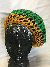 JAMAICA BLACK YELLOW GREEN CROCHET SNOOD BEANIE HAT ROOTS RASTA REGGAE