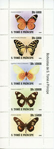 Sao Tome & Principe Butterflies Stamps 2008 MNH Butterfly Insects Fauna 5v M/S