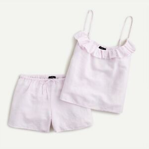 New JCREW Size XXS Cotton-Linen Tank Ruffle Pajama Set in Icy Orchid