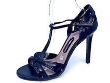 TOM FORD Black Leather Studded  Crossed Straps T Strap Heel Sandal Sz 41 Italy