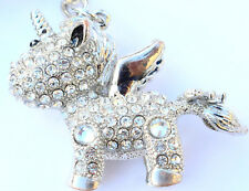 Unicorn Handbag Charm Keyring Diamante Rhinestone Charm Bling Ladies CLEAR JEWEL