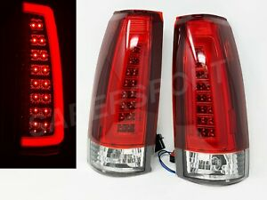 Set of Red C-Bar LED Taillights for 88-99 GM C/K 1500 2500 3500 Yukon Suburban