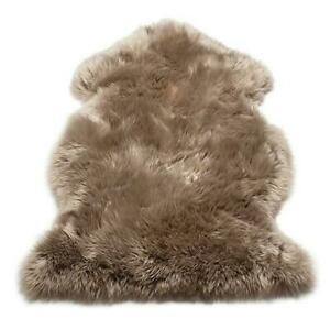 Genuine Real Sheepskin Rug Taupe Sheepskin Rug Single Pelt Wool Fur Throw Floor