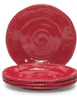 Tommy Bahama Heavyweight MELAMINE Dinner Plates Red Set 4 Nautical Outdoor Safe