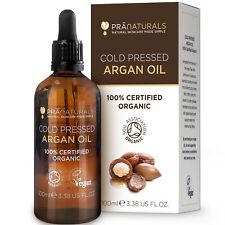 PraNaturals 100% Pure Organic Argan Oil Cold Pressed Moroccan Hair Body 100ml