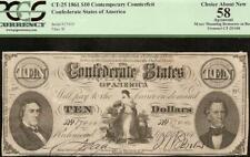 1861 $10 CONFEDERATE STATES CONTEMPORARY COUNTERFEIT CIVIL WAR NOTE CT-25 PCGS