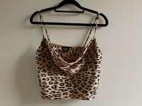 Bardot Women's Cami Top Cropped Cowl Neck Animal Leopard Print Strappy Size 12