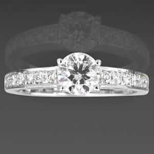 FILIGREE DIAMOND SOLITAIRE & ACCENTS RING 14 KT WHITE GOLD 4 PRONGS 1.07 CARATS