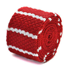 Frederick Thomas rouge et blanc à Rayures Cravate en tricot fin ft2034