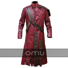 Men's Guardians of the Galaxy Star Lord Peter Quill Trench Leather Coat Jacket