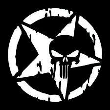 Punisher Star Skull Pentagram Car Sticker Vinyl Decal Truck Window 13x13cm White