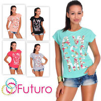Casual T-Shirt Awesome Print Short Sleeve Ladies Top 100% Cotton Size 8-14 FB121