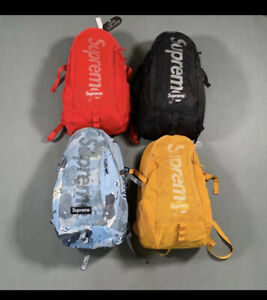 Supreme 2020 SS Backpack Blue Chocolate Chip Camo/ Black/ Yellow/Red