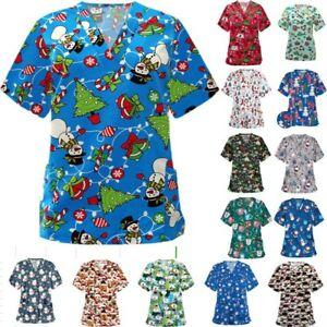 Womens Printed Medical Uniform  Nursing Scrub Tops Merry Christmas Flowers Shirt