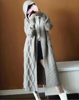 Womens Hood Cardigan Sweater Coat Wool Blend Long Knit Jacket Outwear Yoooca New