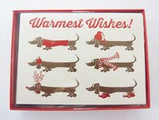 "HOLIDAY CARDS Christmas ""Warmest Wishes"" Dog DACHSHUND 12 Cards W/ ENVELOPES"