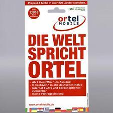 7,50 Euro Startguthaben Ortel Prepaid Handy SIM Mobile Karte Telefonica Guthaben