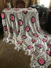 "Gorgeous Hand Crochet PINK 3-D ROSES Vtg Bed Sofa Blanket 97x 72"""